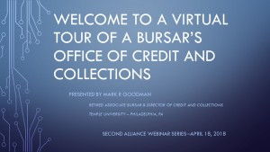 Welcome to a Virtual Tour of a Bursar's Webinar